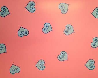 12x12 Pink with Blue Hearts Paper