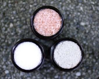 Mix| Gift Set - Nag Champa Breton Grey Salt, Eucalyptus Brazilian Salt, and Blood Orange Himalayan Pink Salt Scrubs in 50mL Amber Jars