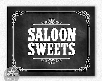 Saloon Sweets 8x10 Printable Western Theme Sign Wedding