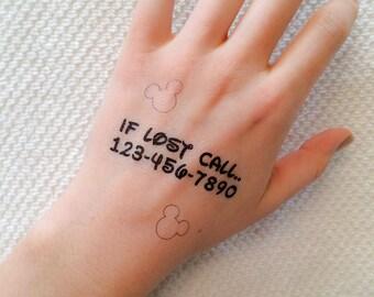 2 Emergency Contact Temporary Tattoos - SmashTat
