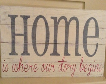 Home Is Where Our Story Begins Pallet Sign