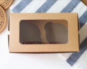 10pcs of Kraft paper double muffin cupcake packing box with window