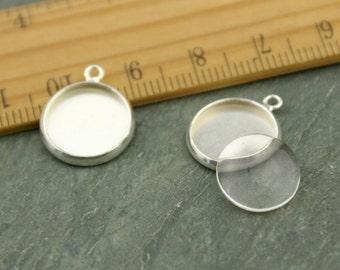 10 Silver plated Brass 12mm Cabochon Base Setting Charm Pendants gm157s-12(10pcs)
