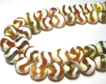 20pcs Amber White Green Tibetan Dzi Faceted Agate Stone Beads 8mm Round Gemstone