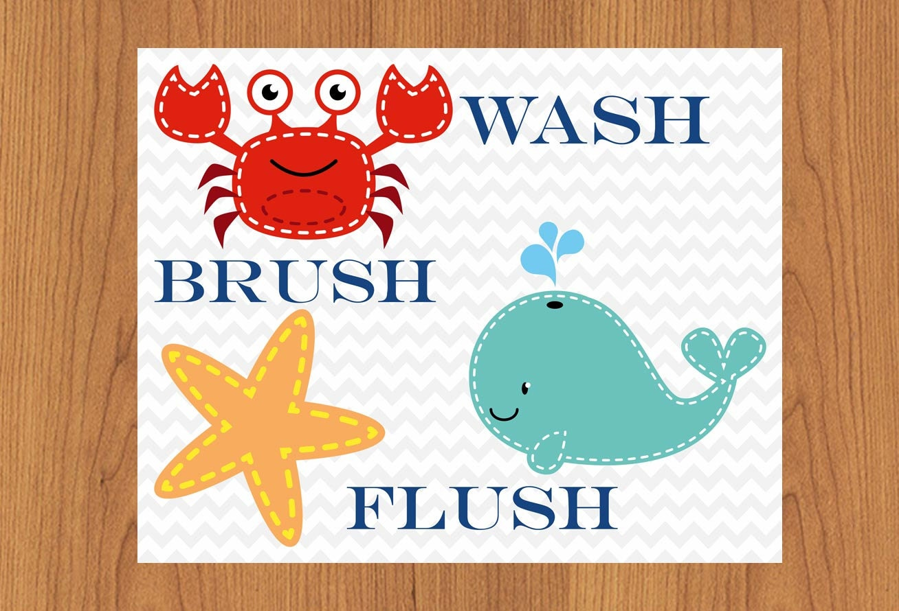 Kids Bathroom Ocean Wall Art Decor Theme Wash Brush Flush