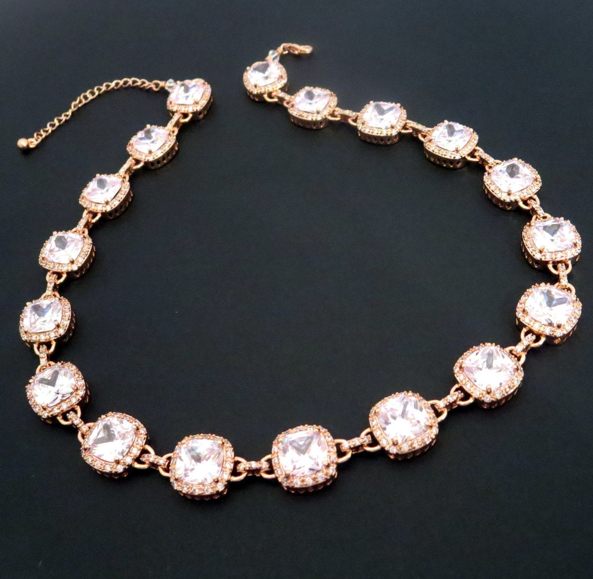 rose gold bridal necklace rose gold statement necklace
