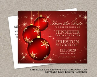 DIY Printable Christmas Wedding Save The Date Cards, Holiday Party Save The Date, Christmas Save The Dates Postcards
