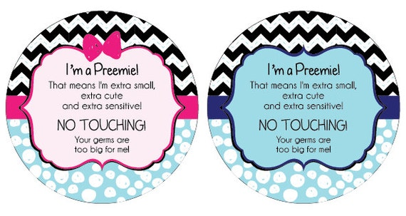 Twins- Preemie, newborn, baby car seat tag, baby shower gift, stroller tag, baby Preemie no touching car seat sign