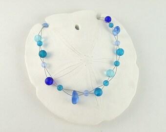 Blue sea glass necklace cobalt blue sea glass jewelry light blue seaglass necklace seaglass jewelry handmade necklace beaded jewelry