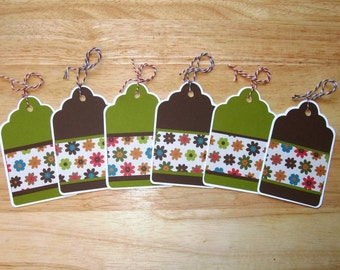 Flower Gift Tags - Homemade Gift Tags - To and From Gift Tags - Hang Tags - Favor Tags - Bridal Party Tags - Gift Tag Set - Set of Six (6)