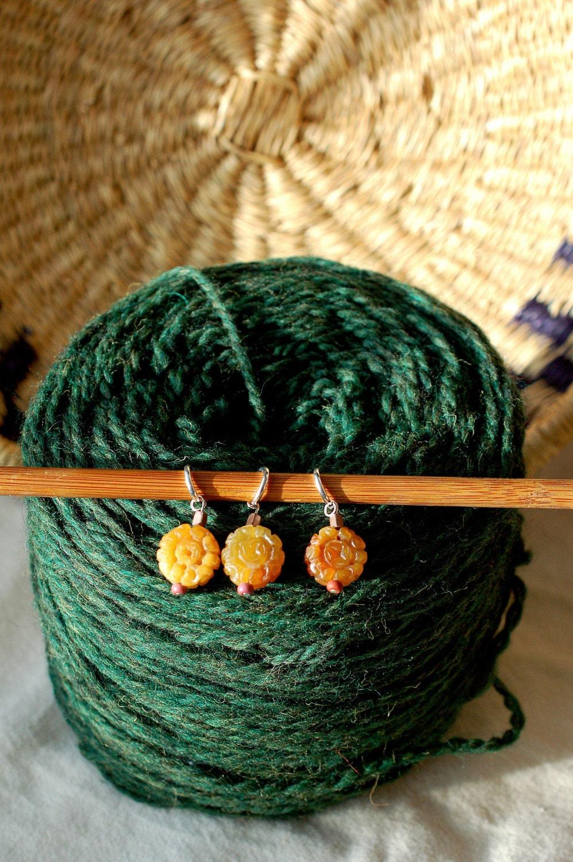Knitting Markers Etsy : Mandarin orange stitch markers from littleknittybird on