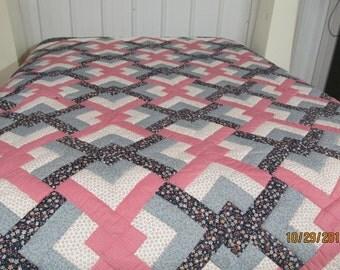 Amish Infant Quilt Log Cabin Pattern Unisex Colors