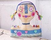 Folk Art Raggedy Pincushion Doll Bust Shelf Sitter Decor PCD#1 FosterChild Whimseys