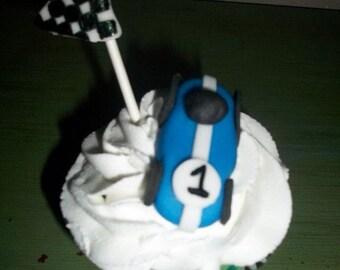 Edible Fondant Race Car Cupcake Toppers