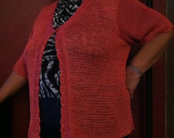 Hand Crocheted  V-NECK CARDIGAN