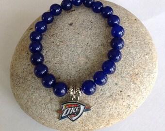 Oklahoma City Thunder Beaded Bracelet.  Thunder Up!  Stretch bracelet. OKC Thunder Basketball.