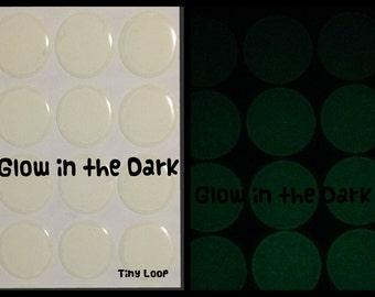 "20 Clear Glow in the Dark Epoxy Stickers 1"" Round"