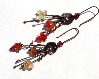Sterling Silver Droplets, Copper, Brass, and Silver Earrings.  Red Fire Agate, Yellow Citrine,  Orange Carnelian, Warm Brown Patina.