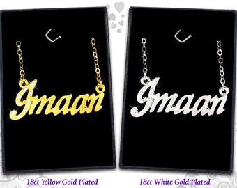 Name Necklace Imaan - 18K Gold Plated, Czech Rhinestones
