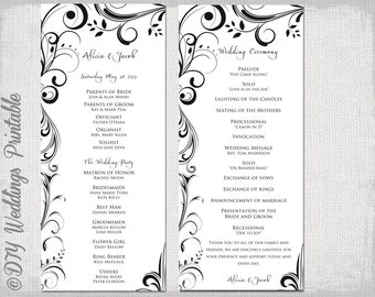 "Black & white Wedding program template -instant download ""Scroll"" wedding order of ceremony -DIY printable order of service -YOU EDIT"