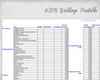 Wedding Budget Spreadsheet   Printable Wedding Budget Template Excel .xls