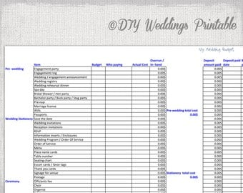 Wedding planning template pack for excel wedding budget spreadsheet printable wedding budget template excel xls junglespirit Image collections