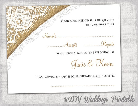 Rustic wedding rsvp template download by diyweddingsprintable for Rsvp cards for weddings templates