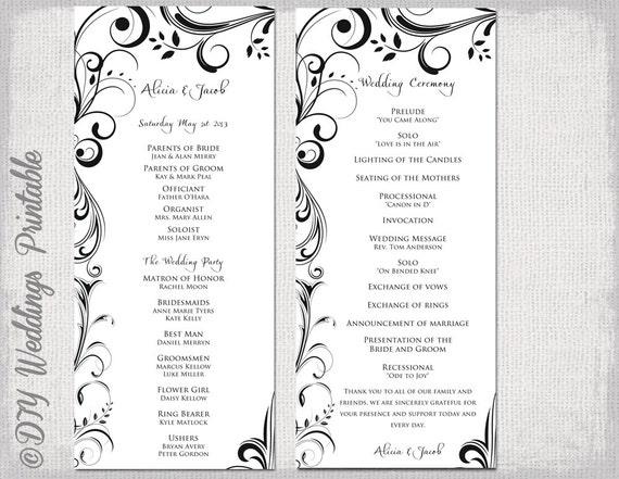 black  u0026 white wedding program template instant download