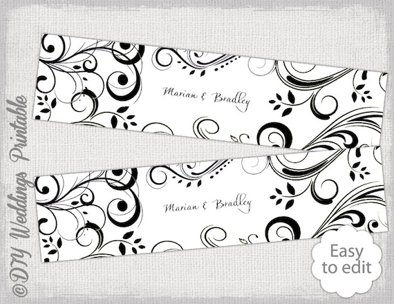 Diy Water Bottle Label Template Black And White