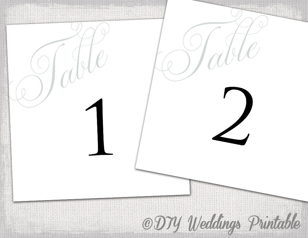 Table number template diy gray script number cards for Table number design template