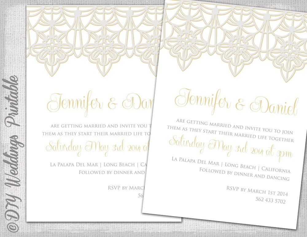 Lace Wedding Invitation: Wedding Invitation Template Lace Trim Silver