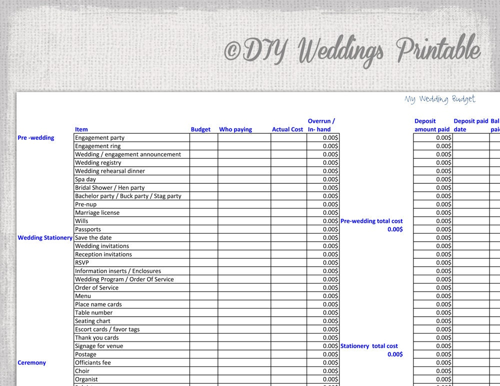 Wedding Budget Spreadsheet Printable Wedding Budget Template
