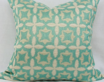 "Aqua blue & ivory pillow cover.  Waverly Stardust jacquard decorative pillow cover. 20"" x 20"" pillow. Accent pillow."