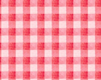 I Heart You - Rose/Hot Pink Gingham Fabric by Moon Cookie Gallery (6MCA4) Fat Quarter
