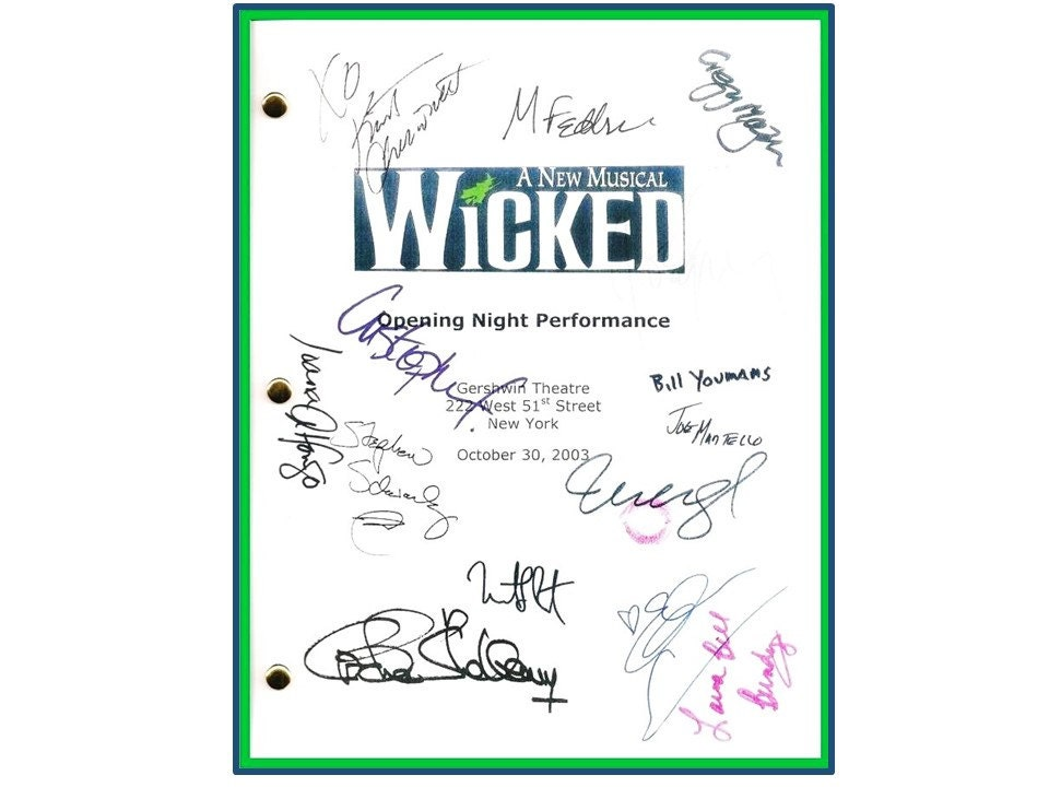 Wicked Broadway Opening Night Script Signed Autographed Idina