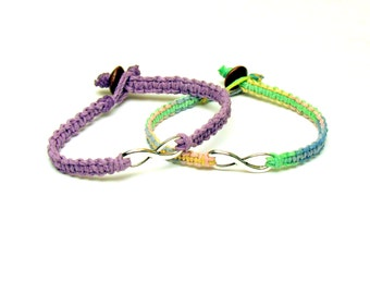 Light Purple and Carousel Infinity Bracelets, Set of Two, Macrame Hemp Jewelry for Best Friends, Black Friday Cyber Monday Sale