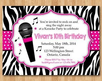 Karaoke Party Invitation. Girl Karaoka Birthday Rockstar Party Invitation. Hot Pink. Zebra Print. Printable digital DIY Personalized