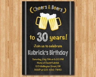 30th birthday invitation. Cheers & Beers invitation. Chalkboard. 40th 50th 60th 70th for Men. Big 30. Surprise Birthday. Printable Digital