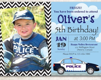 Police Birthday Invitation. Boy Police Officer Party with custom photo. Police Car Policeman bday. Blue and black Chevron. Printable digital