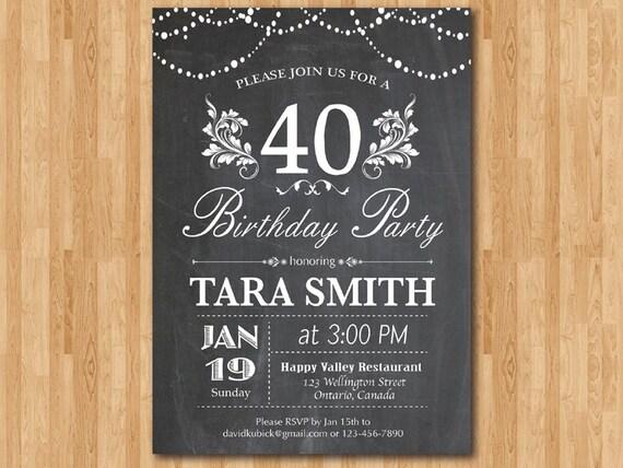 Célèbre 40e invitation anniversaire. Anniversaire Surprise de tableau TX21