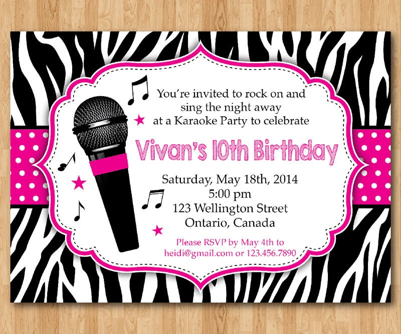 karaoke party invitation. girl karaoka birthday rockstar party, Birthday invitations