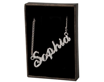 Name Necklace Sophia - White Gold Plated 18ct Personalised Necklace with Swarovski Elements