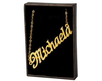 Name Necklace Michaela - Gold Plated 18ct Personalised Necklace with Czech Crystals
