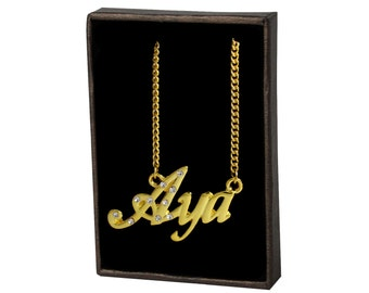 Name Necklace Aya - Gold Plated 18ct Personalised Necklace with Czech Rhinestones