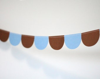 Scalloped Garland - Blue and Brown