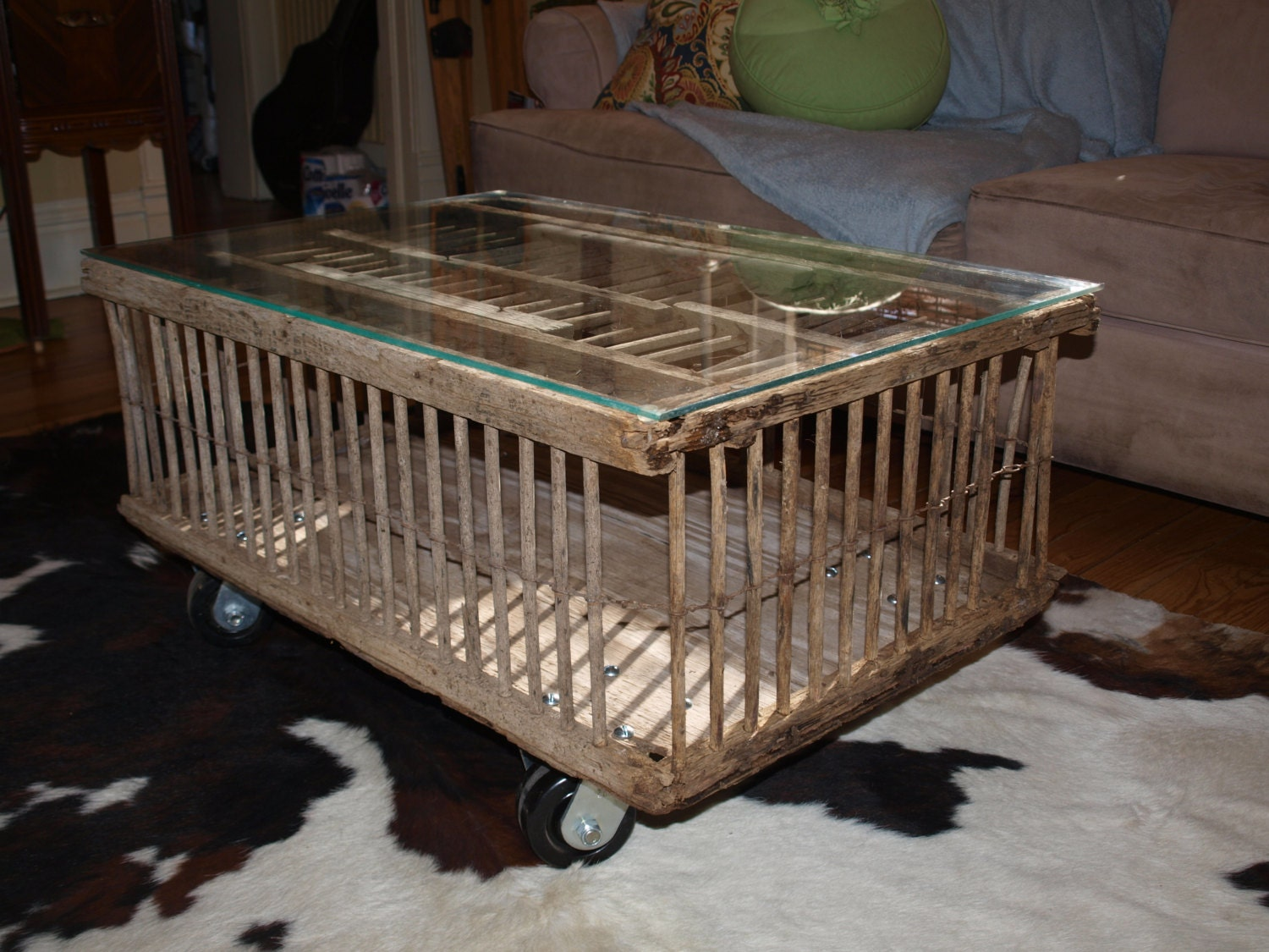 Chicken Crate Coffee Table On Wheels