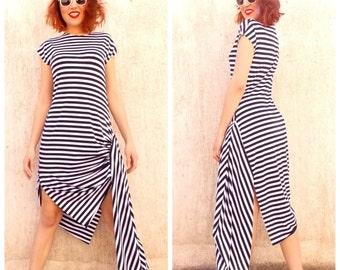 Navy Striped  Asymmetric Dress / Loose Dress / Extravagant Asymmetric Dress / Plus Size Dress TDK38