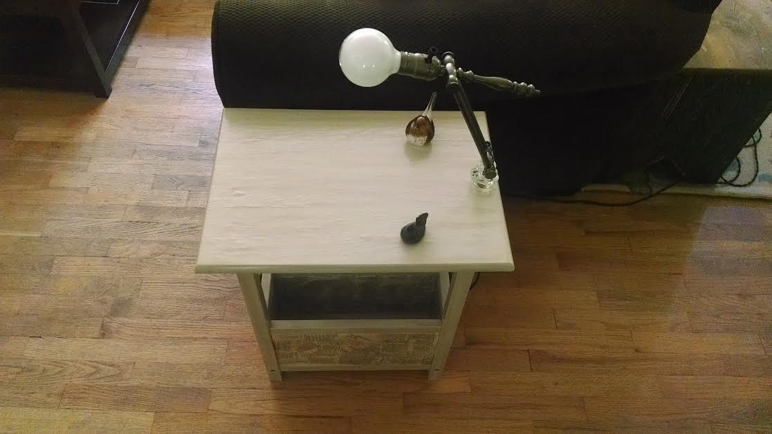 side table with built in adjustable lamp. Black Bedroom Furniture Sets. Home Design Ideas