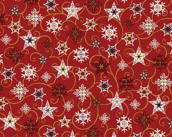 1/2 Yard Benartex Holiday Magic Red Twirling Stars