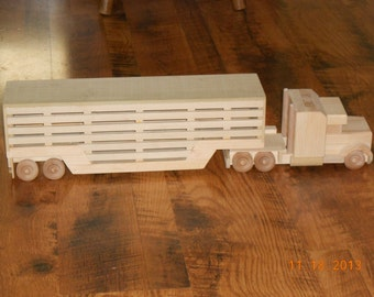 Handcrafted Wood Toy Cattle Hauler Truck